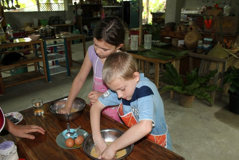 Mara and Beckett making Pumpkin Custard