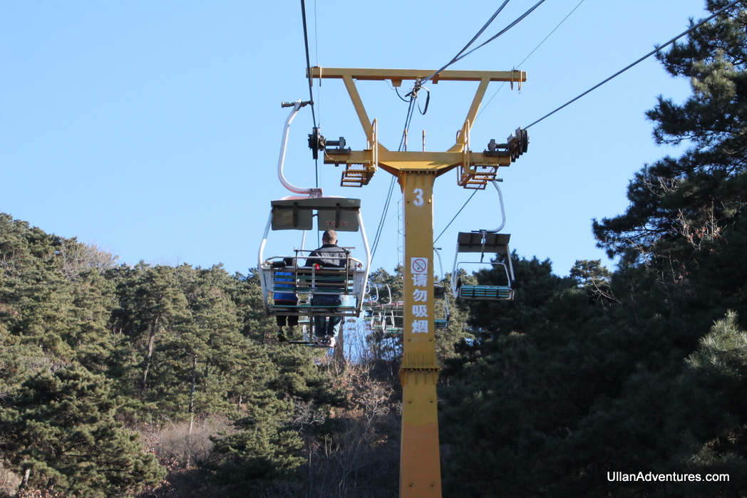 Taking the chair lift up to the wall