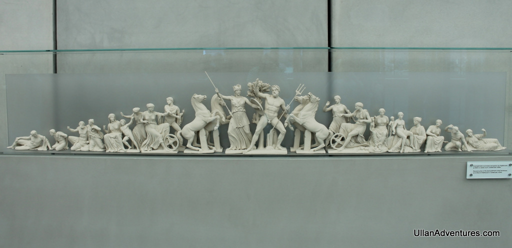 Model of the West pediment showing Athena winning Athens from Poseidon