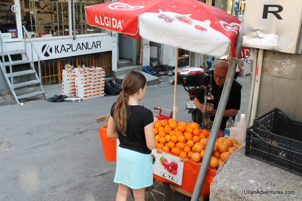 Fresh squeezed orange juice carts were found all along the streets. Delicious!