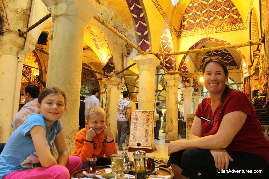 Enjoying apple, cinnamon and mint tea plus treats in the Grand Bazaar